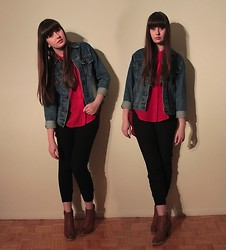 Emilie Y. - Gap Jacket, Maurie & Eve Blouse, Aritzia Pants, Urban Outfitters Booties - Just Jammin'