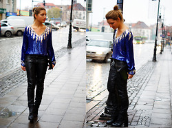 Katarzyna Smok Smoczyńska - Vintage Blouse, Vila Leather Pants, Cheap Monday Boots - Sparkling in the rain