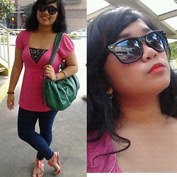 Trixie Manlangit - Brites Sunglasses, Forever 21 Stripe Top, Genevieve Gozum Bandeau, Bazaar Jeggings, Jessica Jelly Sandals, Garterized Bag, Ever Bilena Orange Red Lipstick - Bright and Sweet