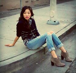 Angela Lee - Urban Outfitters Cropped Sweater, American Eagle Jeans (Diy), Franco Sarto Ankle Boots - Curb Appeal