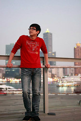 Sam Huang - Net Red Long Sleeve T Shirt - Red in Kaohsiung.