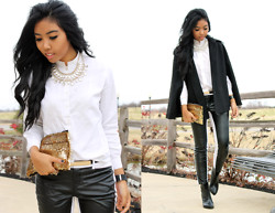 Sharena C. - Express Black Cape, Zara Black Boots - White and Black