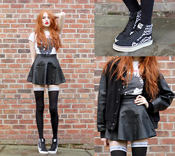 Olivia Emily - Vans Sk8 Hi Reissue, Blue Rinse Manchester Birthday Party Tee, Black Pu Skater Skirt, Studded Shoulder Varsity Jacket, House Of Holland Thigh Highs - Hair of the Dog.