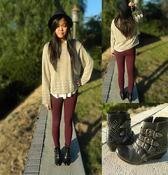 Joanna Tam - Vintage Sweater, Chochet Top, Cotton On Leggings, Urban Outfitters Boots, Forever 21 Hat - Lovelovelove.