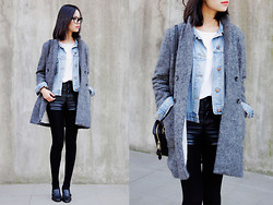 IAN CHEN - Coat, Vintage Jacket, Second Hand Shoes - Grey