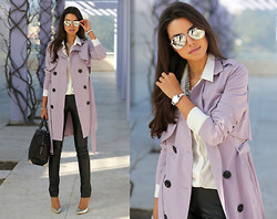 Annabelle Fleur - Armani Exchange Watch, Nasty Gal Trench Coat, Alexander Wang Bag, Bcbg Pants, Alice + Olivia Heels - Lavender Ice - #DressedFor #Time