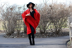 Gail C - Vintage Cashmere Cape Coat, Topshop Felt Hat, Kg Boots - Little Red Ridding Hood