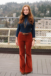 Stacey L - Kohl's Blue Turtleneck, Anthropologie Red Corduroy Pants, Sam Edelman Leopard Print Heels - Fall color-blocking