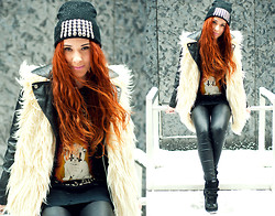 Kate Pe. - Diy Beanie, Faux Fur Vest, Unif Death Meowtal Tank Top, Jacket, Zara Faux Leather Trousers, Wedge Sneakers - Death Meowtal
