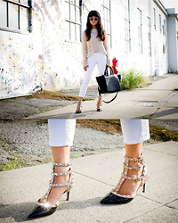 Olivia Lopez - Valentino Patent Studded Sandals, Tom Jewelry Interlock Ring - Lucite and White