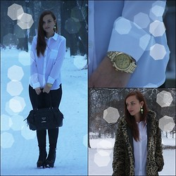 Iza Leszczak - Bershka Coat, C&A White Shirt - Walking in snow