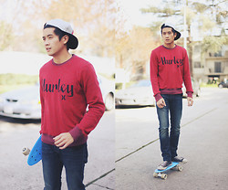 Peter Adrian - Hurley Red Sweater, Pacsun Diamond Snapback, Manny Penny Board - Sk8er boi