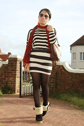 Christine Dior (Discover Fashion Author) - Zara Oversize Top, H&M Tube Skirt, Faith Sheeksin Boots, Moschino Scarfs - Stripes & check