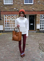 Ella Catliff - Paige Rust Jeans, Gap Polo Neck Knit, Topshop Wooly Hat, Anya Hindmarch Tote, Russell & Bromley Brown Loafers, Accessorize Festive Socks - Rust Denim