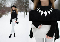 Margarita Lemeshko - Monki Wool Hat, Gina Tricot Necklace, Asos Sweater, Cubus Clutch, Asos Silver Jeans - Silver and Cold