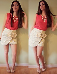 Gabrielle Deanna - Charlotte Russe Beige And Gold Skirt, Charlotte Russe Biege Heels, Rue21 White Neclace, Coral Blouse - Fresh Picked Winter.