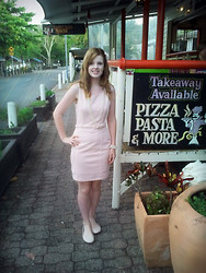Claire Woodfield - Equip Flower Clip, Valleygirl Pale Pink Sheath Dress, Rubi Pale Pink Ballet Flats - Celebratory Pizza