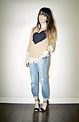 Lena Antonacci - J. Crew Heart Sweater, Ardene Polka Dot Blouse - Crooked hearted