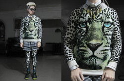 Andre Judd - D&G Button Down Shirt, Forever 21 Snow Leopard Printed Sweater, Multi Spiked Tooth Neckpiece, Graphic Print Boardies, Zebra Print Leggings, H&M Stripey Socks, Y 3 Neon Soled Sneaks - SNOW PATROL
