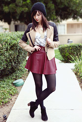 Chesley Tolentino - Zara Jacket, Romwe Skirt, Dolce Vita Booties - Oxblood, right??