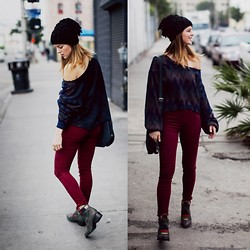 Michelle Madsen - Freebird Boots, Carmar Red Courds, Lf Stores Sweater, Lf Stores Purse, Lf Stores Beanie - TOTAL LF STORE