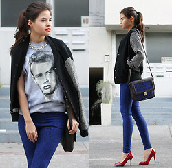 Adriana Gastélum - Forever 21 Rhinestone Necklace, Men's Section James Dean T Shirt, Choies Varsity Jacket, Cut Out Leather Satchel, Sheinside Leopard Skinny, Oasap Red Heels - It was like James Dean, for sure