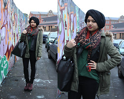 Saima Chowdhury - I.M Hijabs Black Hijab, I.M Hijabs Cheetah Scarf, Ebay Black Bag, Topshop Geek T Shirt, Forever 21 Black Skinny Jeans, Deichmann Creeper Wedge Shoes, New Look Furry Hood Parka, Asos Spiked Leather Jacket, Topshop Eye Ring And Purple Stone Ring, Select Gold Hoop Earrings - Digbeth