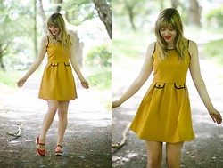 Jo Fletcher - Yumi Buttercup Yellow Dress, Lotta From Stockholm Red Clogs - Buttercup