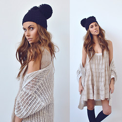 Rae Shoemaker - Romwe Beanie, Free People Knit Cardigan, Diy Slip Dress, Urban Outfitters Knee Highs - Lovely girl won't you stay...