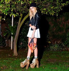 Amber Saylor - Unif Hellbounds, O Mighty Weekend Burn, Baby Burn Clutch, O Mighty Weekend Batgirl Dress, Zara Moto Leather Jacket - Burn, Baby Burn