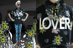 Andre Judd - Lover Tee, Miadore By Yek Balingit Multi Crystals Neckpiece, Spike Neckpiece, Floral Print Trousers, Tapestry Booties - FLOWER LOVER