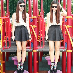Fel Chen - Sparkle Skater Skirt, Unif Hellbound, Thrifted Shades, Vintage Ribbon Blouse - The Heart Speaks