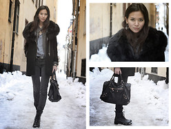 Miu N - Hollies Fur Collar, Zara Coat, 7 For All Mankind Jeans, Vagabond Boots, Balenciaga Bag, H&M Belt, Zara Shirt, Back Earring - Black Fur Collar