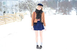 Amanda L - Hat, Jc Scarf, Secondhand Jacket, Cardigan, Bag, T Shirt, American Apparel Skirt, Shoes - Be young be dumb be proud