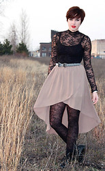 Emily Reifert - Thrift Lace Turtleneck, Lace Tights, High Low, Dr. Martens Martins, Betsey Johnson Belt - You said to me we'd be alright.