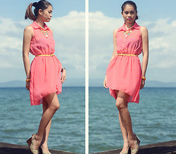 Happy Abbey - Pink Sheer Dress, Staccato Two Toned - Pink is Love