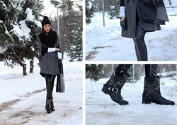Aleksandra S. - Vjstyle Faux Leather Leggings, Zara Baker Boots, P...S...Fashion Cape, H&M Black Wool Scarf, New Yorker Beanie, Terranova Black Leather Gloves, No Name Bag - Winter time...