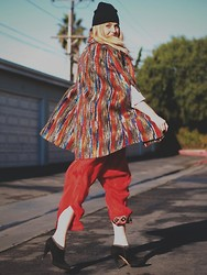 Beth Jones - Target Beanie, Leslie Tessler Tribal Cape, Vintage Pants, Prada Booties - Tribal Cape