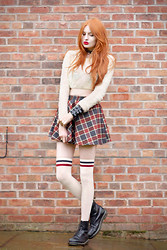 Olivia Emily - Woolly Cropped Jumper, Tartan Skirt, Stripe Top Overknees, Dr. Martens Boots - Empire Records.