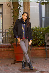 Nathalie Maxey - Old Navy Fleece Peacoat Jacket, 579 Scarf, Old Navy Sweater, Mexx Necklace, Old Navy Polka Dot Cami, Rue21 Pants, Steve Madden Booties - Black, Blue and Red