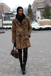 Gail C - Vintage Fur Coat, Ralph Lauren Vintage Bag, Topshop Leggings, Kg Boots - Freezing Last Weekend!!!!