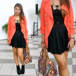 Anne Klein - Nafnaf Mandarin Blazer, Forever 21 Collar Necklace, Bought It From Macau Laced Tutu Skirt, Primadonna Lita Insoired Boots, Aztec Bag - Bloggers United 4
