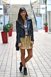 Céline Cavaillero - Mango Jacket, H&M Skirt, Jonak Booties, H&M Top, Zara Bag - Leather & glitter