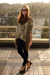 Stacey L - Anthropologie Green Vest, Anthropologie Watercolor Print Sweater, Levi's® Skinny Jeans, Urban Outfitters Beige Wedge Boots - The stuff that dreams are made of
