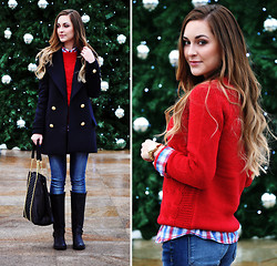 Karina P. - House Jumper, Boots, Pull & Bear Shirt, Zara Coat, Jeans, Bag - Jingle bells