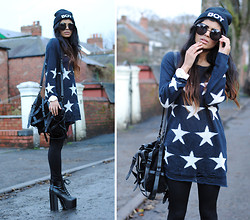 Kavita D - Missguided Wildfox Lookalike Star Sweater, Ebay 'Boy' Beanie, Alexander Wang Kirsten Tote, 'The Big Lita', Ebay Oversized Circle Sunnies, You Wear Fashion Triangle Hand Harness - I knew you were trouble.