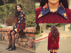 Judy L - H&M Oxblood Sweater, Vintage Equestrian Blouse, Vintage Ankle Boots - Off to the Races