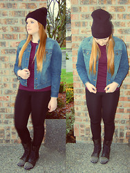 Anna Elise - American Apparel Beanie, Maroon Sweater, Denim Jacket, Steve Madden Studded Combat Boots - That One Brick Pillar