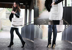 Anni *** - Tila March Bag, Lookbookstore Leather Jacket, Gina Tricot Scarf, Warehouse Pants, Buffalo Booties - Rainy day