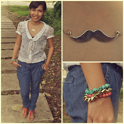 Christelle Mae Dacalus - Zara Peter Pan Collar Top, Accessorize Mustache Necklace, Oxygen Denim Jeans, Payless Coral T Strap - Like A Sir :3